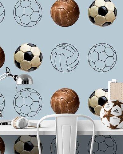 Behang voetbal blauwgrijs