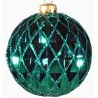 kerstbal ca. 15cm ruit groen