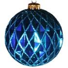 kerstbal ca 10cm ruit lichtblauw