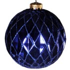 kerstbal ca 10cm ruit donkerblauw