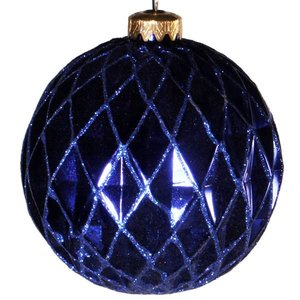 Kerstbal Ca 10cm Ruit Donkerblauw Yoused Nl