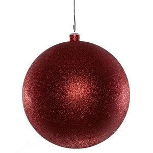 basis kerstbal glitter rood ca 10cm rond