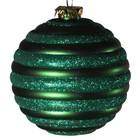 kerstbal streep horizontaal ca. 15cm groen