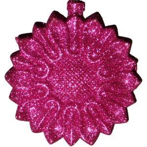 ornament bloem glitter lila ca 10cm rond