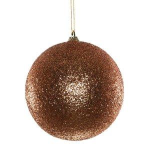 kerstbal glitter ca 12cm lichtbrons