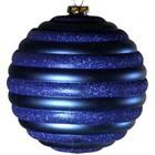 kerstbal 15cm streep horizontaal donkerblauw
