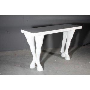 Paardenbeen tafelpoot hoog per 4 wit