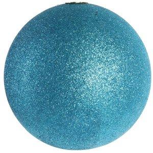 kerstbal glitter ca. 15cm blauw