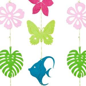 slinger vilt vis bloem blad vlinder roze groen blauw lila