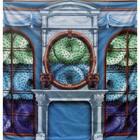 doek haard kransjes blauw 225 x 225cm