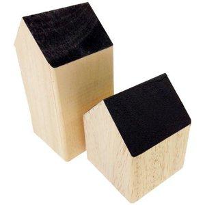 huisje massief hout ca 7 x 7 x 9cm laag zwart