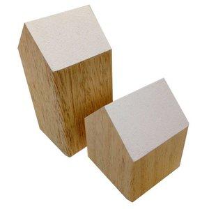 huisje massief ca hout 5 x 5 x 10cm hoog wit