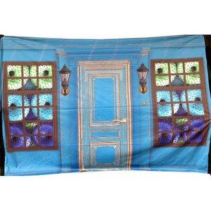 Doek ramen kransjes ca 350 x 250cm blauw