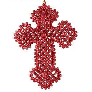 Kruis ca 11cm rood met glitter kerst decoratie