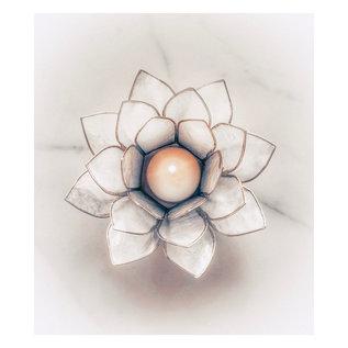 Lotus Sfeerlicht – met goudkleurige randen - Parelmoer