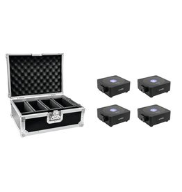 EUROLITE EUROLITE Set 4x AKKU Flat Light 1 black + Case