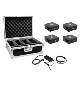 EUROLITE EUROLITE Set 4x AKKU Flat Light 1 black + Case + Charger