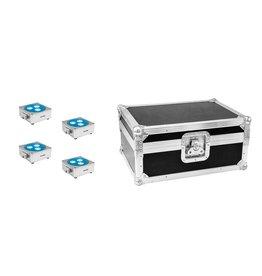 EUROLITE EUROLITE Set 4x AKKU Flat Light 3 sil + Case