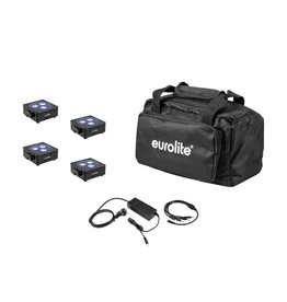 EUROLITE EUROLITE Set 4x AKKU Flat Light 3 bk + Charger + Soft-Bag