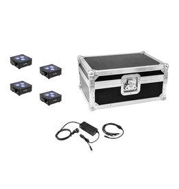 EUROLITE EUROLITE Set 4x AKKU Flat Light 3 bk + Charger + Case