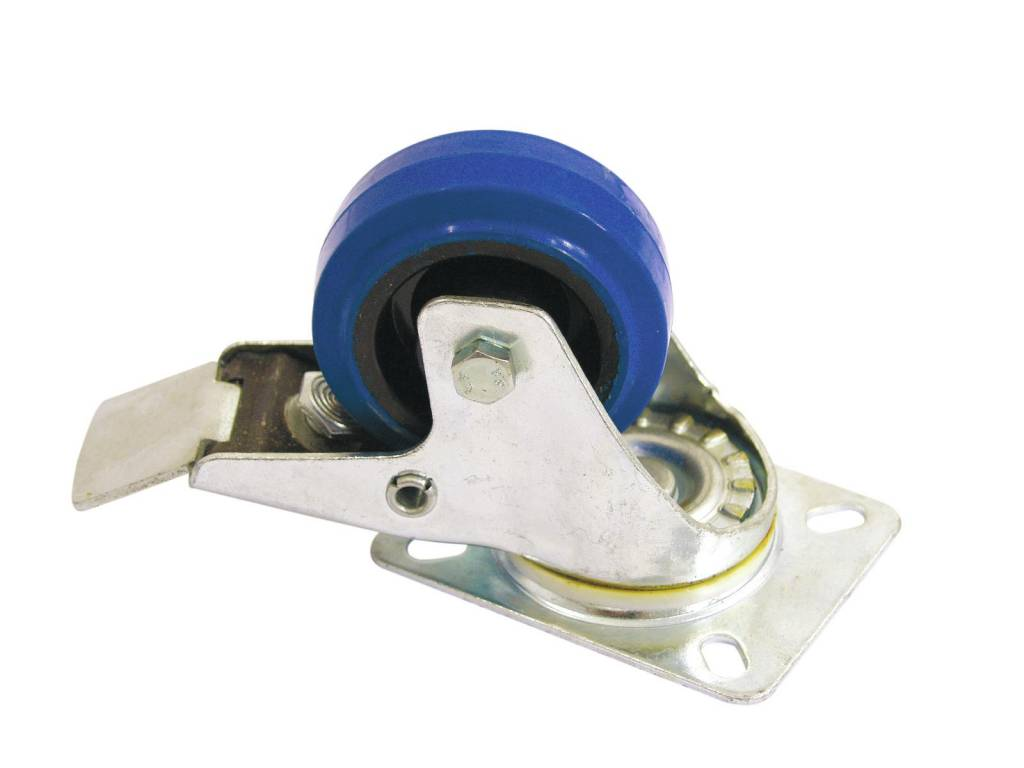 ACCESSORY Swivel castor 80mm with brake blue