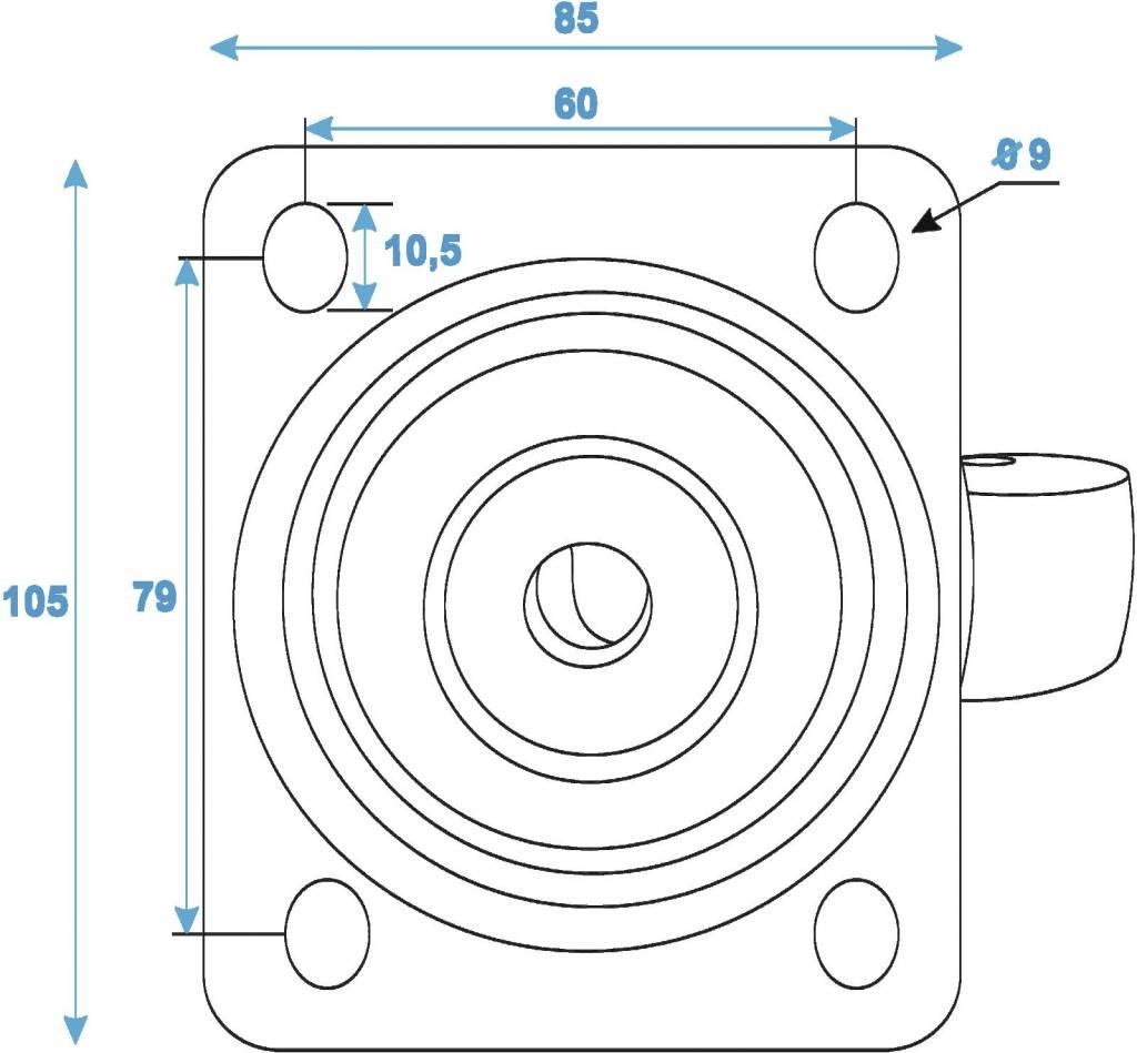 ACCESSORY Swivel castor 100mm blue shielded bearing
