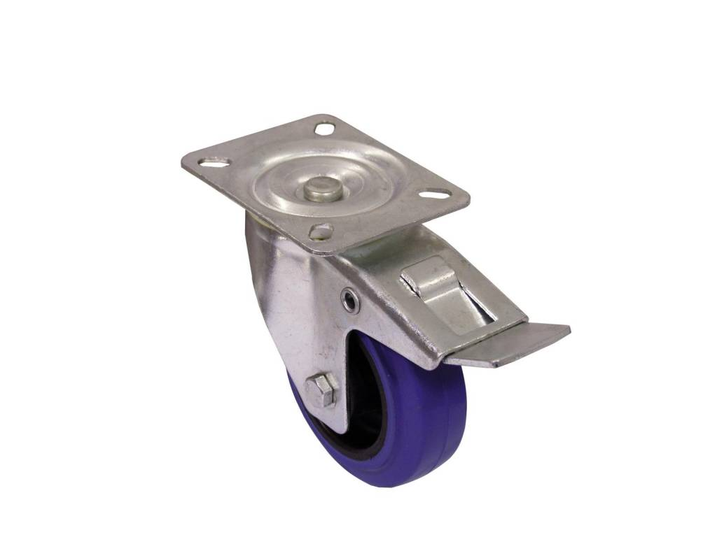ACCESSORY Swivel castor 100mm blue with brake