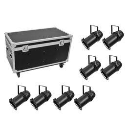EUROLITE EUROLITE Set 8x LED PAR-64 COB RGBW 120W Zoom bk + Case