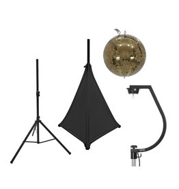 EUROLITE EUROLITE Set Mirror ball 30cm gold with stand and tripod cover black