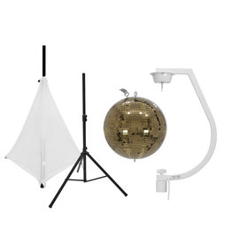 EUROLITE EUROLITE Set Mirror ball 30cm gold with stand and tripod cover white