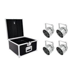 EUROLITE EUROLITE Set 4x LED PAR-56 QCL Short sil + PRO Case