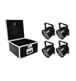 EUROLITE EUROLITE Set 4x LED PAR-56 QCL Short sw + PRO Case