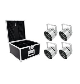 EUROLITE EUROLITE Set 4x LED PAR-56 HCL Short sil + PRO Case
