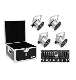 EUROLITE EUROLITE Set 4x LED PAR-56 HCL sil + Case + Controller