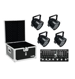 EUROLITE EUROLITE Set 4x LED PAR-56 HCL bk + Case + Controller
