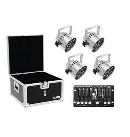 EUROLITE EUROLITE Set 4x LED PAR-56 QCL sil + Case + Controller