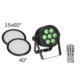 EUROLITE EUROLITE Set LED IP PAR 7x8W QCL Spot + 2x Diffuser cover (15x60° and 40°)
