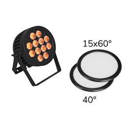 EUROLITE EUROLITE Set LED IP PAR 12x8W QCL Spot + 2x Diffuser cover (15x60° and 40°)