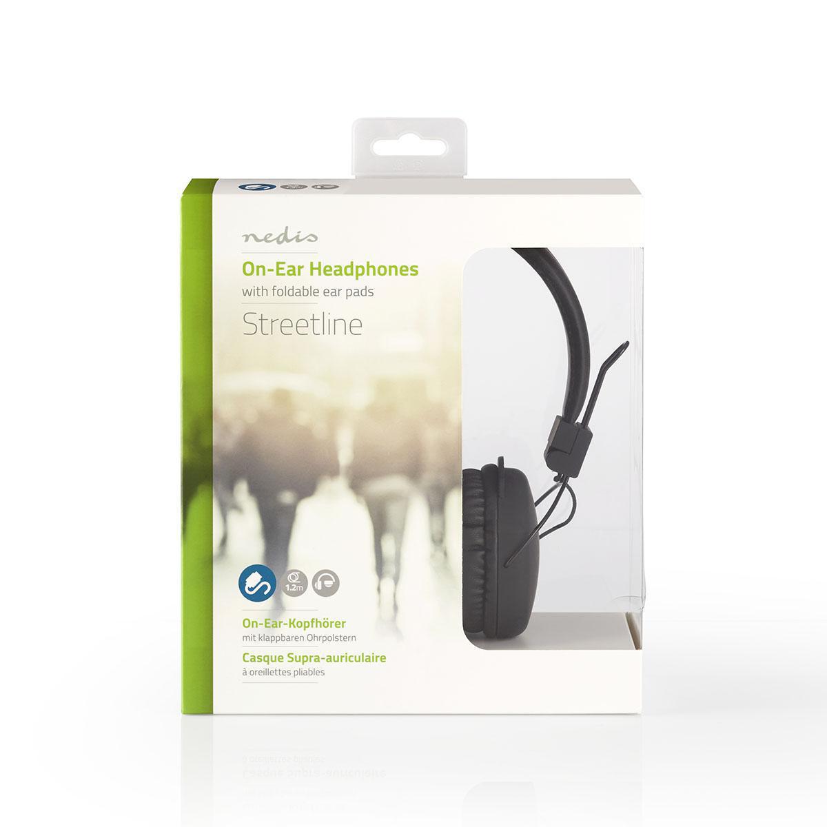 Pls Bedrade Koptelefoon | 1,2 m Ronde Kabel | On-Ear | Opvouwbaar | Zwart
