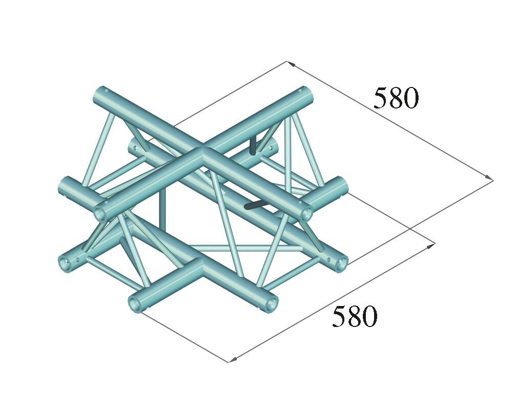 ALUTRUSS ALUTRUSS DECOLOCK DQ3-SPAC41 4-Way Cross Piece bk