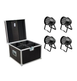EUROLITE EUROLITE Set 4x LED PAR-64 HCL 12x10W bk + Case PRO