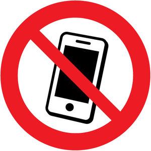 "pictogram ""mobiele telefoons verboden"" sticker"
