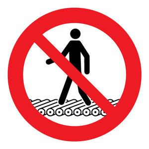 """pictogram """"verboden op de rollenbaan te lopen"""" sticker"""