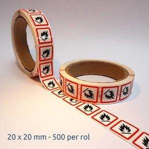 "GHS-02 pictogram ""ontvlambaar"" sticker (ontvlambare stoffen) 500 op rol"