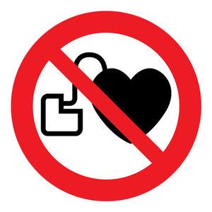 """pictogram """"verboden voor pacemakers"""" sticker"""