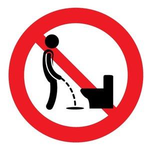 Sticker verboden naast de wc te plassen