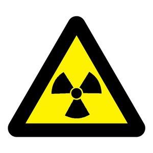 "pictogram ""radioactieve stoffen of ioniserende straling"" sticker"