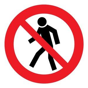 """pictogram """"verboden voor voetgangers"""" sticker"""