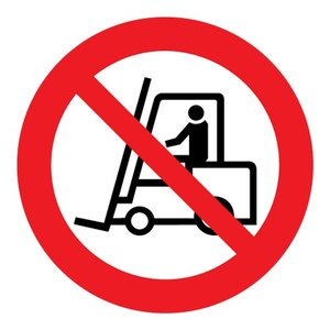 """pictogram """"verboden voor heftrucks"""" sticker"""