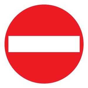 """pictogram """"verboden in te rijden"""" sticker"""